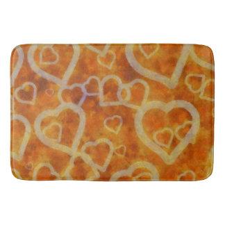 Orange Heart Template Texture Bathroom Mat