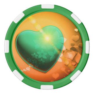 Orange hearts background w green heart & shamrock set of poker chips