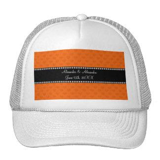 Orange hearts wedding favors trucker hat
