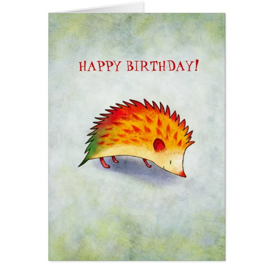 Orange Hedgehog Greeting Card(customizable) Card