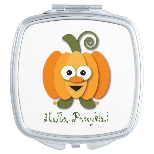 Orange Hello Pumpkin Halloween Jack-o-Lantern Compact Mirror