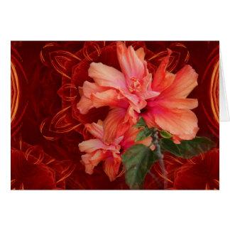 Orange hibiscus and kaleidoscope horizontal card