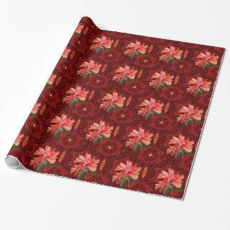 Orange hibiscus and kaleidoscope tiled paper