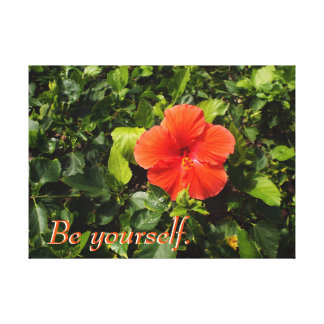 Orange Hibiscus and Positive Quote Canvas Print