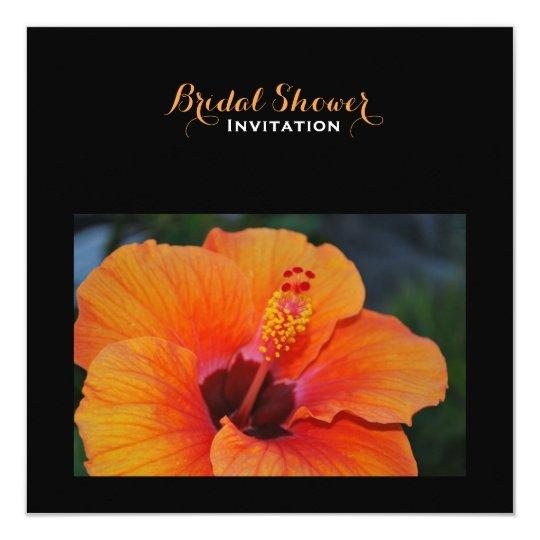 Orange Hibiscus Bridal Shower Card
