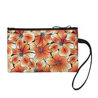 Orange hibiscus coin purse