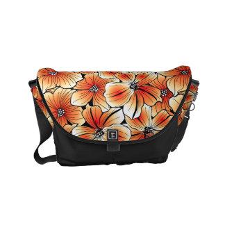 Orange hibiscus courier bags