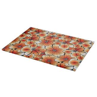 Orange hibiscus cutting board