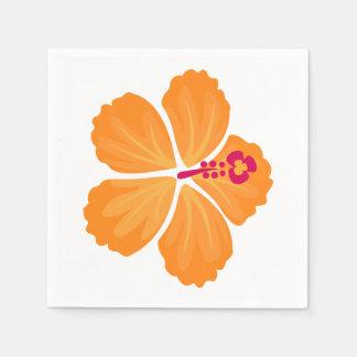 Orange Hibiscus Flower Paper Napkin