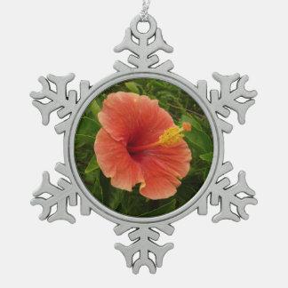Orange Hibiscus Flower Tropical Floral Snowflake Pewter Christmas Ornament