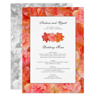 Orange Hibiscus Hawaiian Wedding Menu Template Card