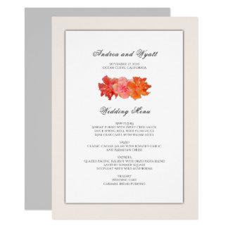 Orange Hibiscus Hawaiian Wedding Menu Template Card