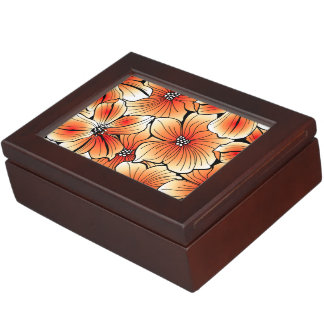 Orange hibiscus keepsake box