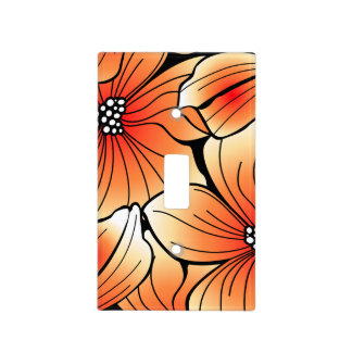 Orange hibiscus light switch cover