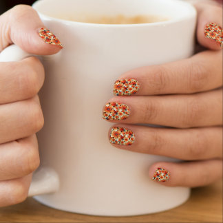 Orange hibiscus minx nail art