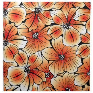 Orange hibiscus napkin
