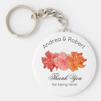 Orange Hibiscus Personal Thank You Key Ring Favour Basic Round Button Keychain