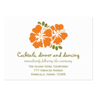 Orange Hibiscus Reception Enclosure Cards Large Business Cards (Pack Of 100)