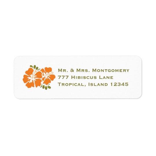 Orange Hibiscus Return Address Labels Custom
