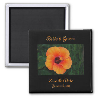 Orange Hibiscus Save The Date Magnet
