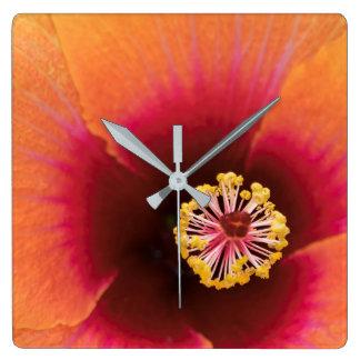 Orange Hibiscus Square Wall Clock