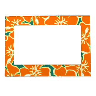 Orange Hibiscus Tropical Flowers Hawaiian Decor Magnetic Photo Frame