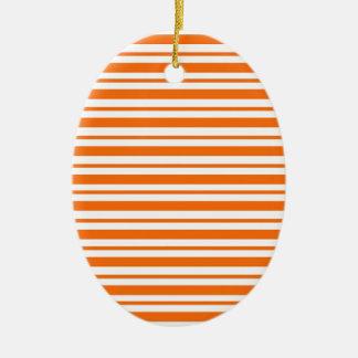 Orange Horizontal Pinstripe Ceramic Ornament