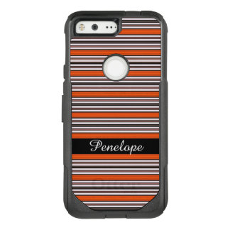 Orange Horizontal Striped Pattern Add your name OtterBox Commuter Google Pixel Case