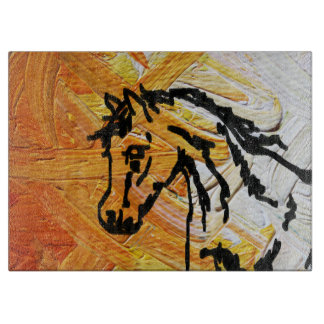 Orange Horse Glass Cutting Board