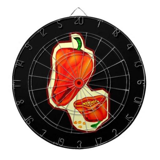 Orange hot peppers one cut in half graphic dartboard