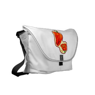 Orange hot peppers one cut in half graphic messenger bags