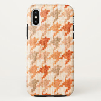 Orange Houndstooth Scottish Hounds Tooth Check iPhone X Case