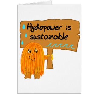 orange hydropower is sustainable greeting card