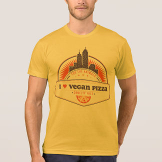 Orange I Heart Vegan Pizza T-Shirt