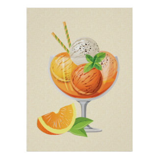 Orange Ice Cream Poster