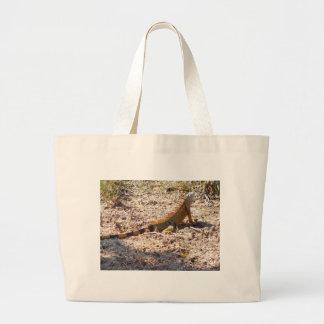 Orange Iguana hunts Large Tote Bag