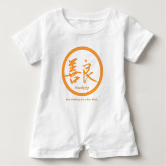Orange Japanese kamon • Goodness kanji Baby Romper