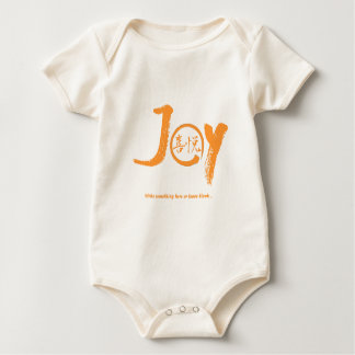 "Orange joy kanji inside enso zen circle ""Joy"" Baby Bodysuit"