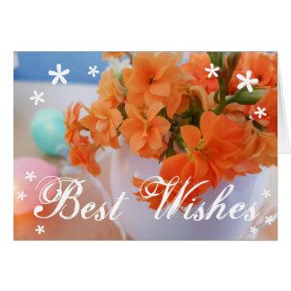 Orange Kalanchoe Flower Best Wishes Card