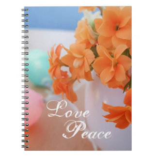 Orange Kalanchoe Flower Photo With Love Peace Note Book
