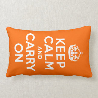 Orange Keep Calm and Carry On Lumbar Pillow