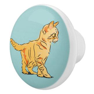 Orange Kitten Ceramic Knob