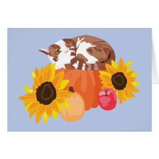 Orange Kitty on Pumpkin Card