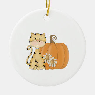 Orange Kitty w/ Pumpkin Ceramic Ornament