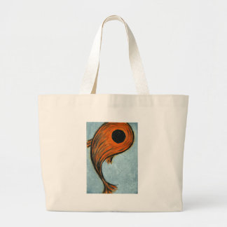 orange koi large tote bag