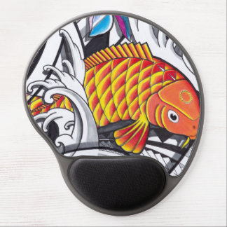 Orange koifish tattoo design with Polynesian art Gel Mouse Pad