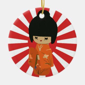 Orange Kokeshi customizable text Pendant Ornament