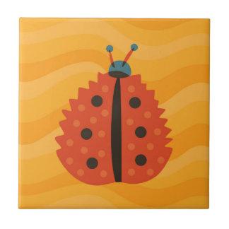 Orange Ladybug Masked As Autumn Leaf Tile