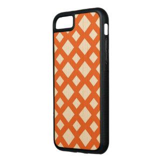 Orange Lattice on Maple Wood Carved iPhone 8/7 Case