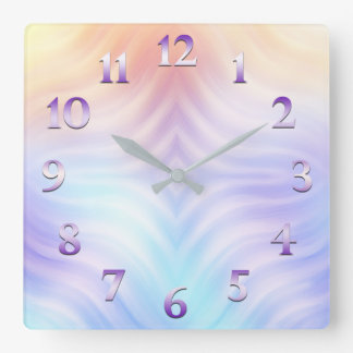 Orange Lavender Teal Square Wall Clock